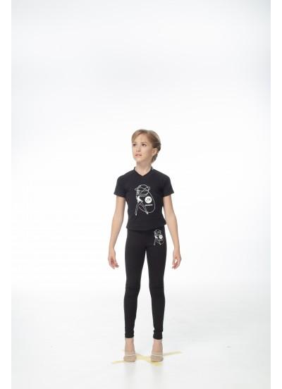 DANCEME Футболка детская F531KR-7 с рисунком Обруч, хлопок, черный