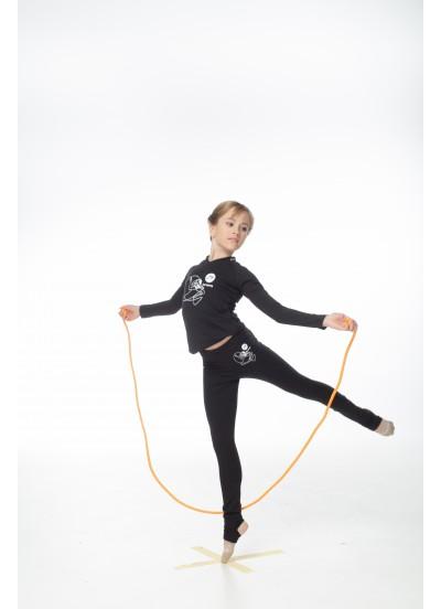 DANCEME Лосины гимнастические L253-7 детские с рисунком Скакалка, хлопок, черный
