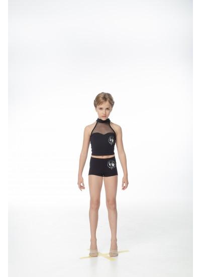 DANCEME Шорты mini SH56-7 детские с рисунком Лента, хлопок, черный