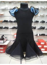 Dance Me Блуза детская БЛ337-5, масло / сетка, черный / светло голубой