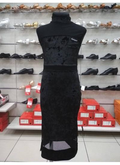Платье Латина ПЛ436-13C-17 Dance.me, Украина, Бархат+сетка, Черный