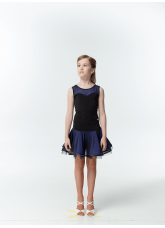 Dance Me Блуза детская BL335-3, масло / сетка, черный / смородина