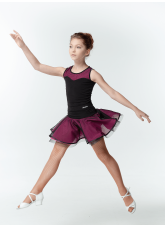 Dance Me Блуза детская BL335-3, масло / сетка, черный / розовый