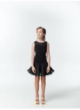 Dance Me Блуза детская BL335-3, масло / сетка, черный / серый