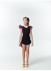 Dance Me Блуза детская BL337-3, масло / сетка, черный / розовый