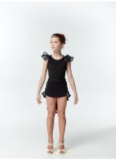 Dance Me Блуза детская BL337-3, масло / сетка, черный / серый