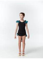 Dance Me Блуза детская BL337-3, масло / сетка, черный / голубой