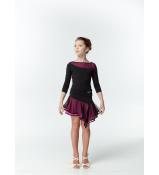 Блуза BL411DR-3 DANCEME, Украина, Масло+сетка, Черный/Розовый