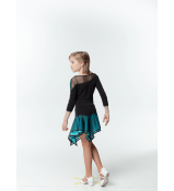 DANCEME Юбка для латины UL359-3 детская, масло / сетка, черный / голубой