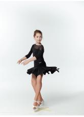 Юбка Латина UL359 Dance.me, Украина, Масло+сетка, Черный