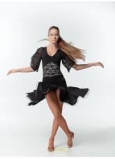 Dance Me Юбка для латины UL213-8-14# женская, масло криналин, черный