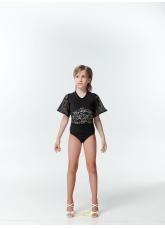 Dance Me Купальник детский K457-11, масло + гипюр, черный