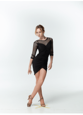 DANCEME Платье женское PL715-17, масло / сетка, черный