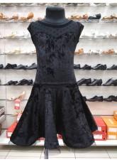 DANCEME Платье Латина PL 334-13C-19, бархат+сетка, черный