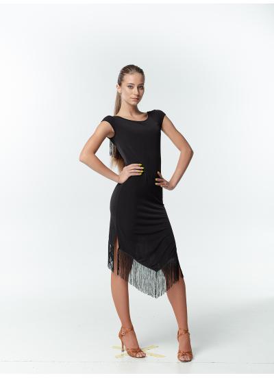 Dance ME Платье женское PL237, масло+сетка, бахрома, черный
