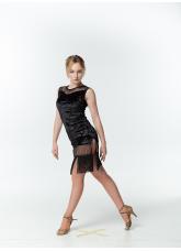 Платье женское Латина PL220-13С Dance.me, Украина, Бархат+сетка, Черный