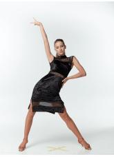 Платье женское Латина ПЛ436-13C-17, бархат+сетка, черный, Dance.me, Украина
