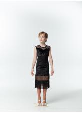 Платье детское Латина PL220-13С Dance.me, Украина, Бархат+сетка, Черный