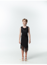 Dance Me Блуза детская БЛ221, масло / бахрома, черный
