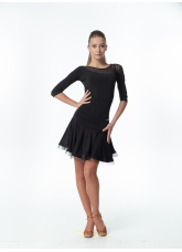 Блуза BL411DR Dance.me, Украина, Масло+сетка, Черный