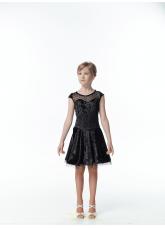 DANCEME Платье Латина PL334-13С-19#, бархат+сетка, черный