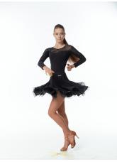 Dance Me Юбка для латины женская UL76-14#, масло / сетка, черный