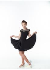 Платье Латина PL334-17# Dance.me, Украина, Масло+сетка, Черный
