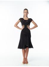 Женское платье для латины PL422-11# Dance Me, Масло+гипюр, Черный