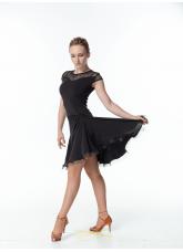 Женское платье для латины PL422-17# Dance Me, Масло+сетка, Черный