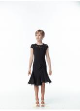 Детское платье для латины PL422-11# Dance.me, Масло+гипюр, Черный
