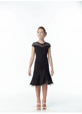 Детское платье для латины PL422-17# Dance.me, Масло+сетка, Черный
