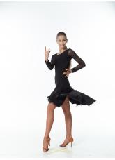 Платье Латина женское PL204-19# DANECEME, масло+сетка+креналин, черный