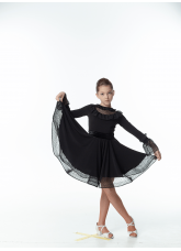 DANCEME Платье детское PL448-6#, масло+сетка+гипюр+бархат, черный