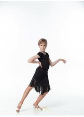 Dance ME Платье детское PL260, масло / бахрома, черный