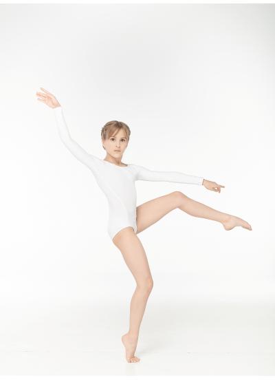 Dance Me Купальник длинный рукав K485DR, для девочки, хлопок, белый