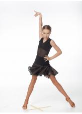Юбка детская Латина UL413-11-14# Dance.me, Украина, Масло+сетка+гипюр, Черный/Телесный