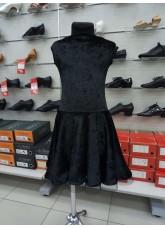 Платье Латина PL487-13С# детское DANCEME, бархат+креналин, черный