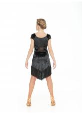 Dance Me Платье PL237-13С-19 детское, бархат, сетка, бахрома, чорный