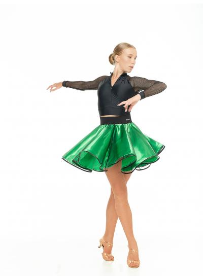 Dance Me Юбка UL180# женская, атлас, фатин, чорный, зеленый