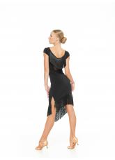 Платье Латина PL237-6 Dance.me, Украина, Масло+сетка, бахрома, Черный
