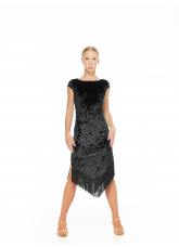 Платье женское Латина PL260-13 Dance.me, Украина, Бархат+бахрома, Черный