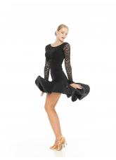 Платье Латина PL204-11# женское Dance.me, Украина, Масло+гипюр, Черный