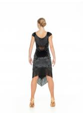 Dance Me Платье PL237-13С-19 женское, бархат, сетка, бахрома, чорный