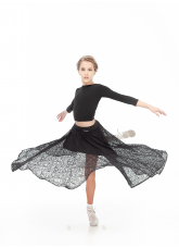 Dance Me Юбка US435-11# детская, масло/гипюр+бархат/кринолин, черный