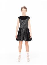 Dance Me Платье PL487-13С# детское, бархат/ криналин, черный