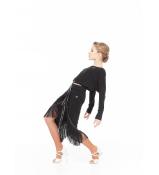 Dance Me Юбка для латины UL784-14 детская, масло/бахрома черная, черный