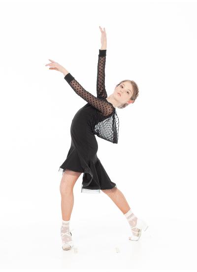 Dance Me Платье PL731-19# детское, масло/сетка в сердечки/криналин, черный