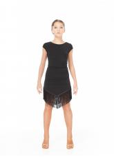 Dance Me Платье PL237-11 детское, масло/гипюр + бахрома, черный