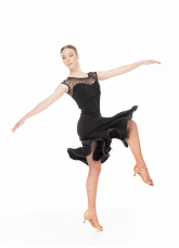 Женское платье для латины PL422-6# Dance Me, Масло+сетка, Черный