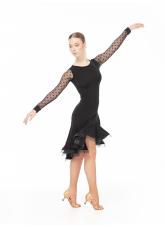 Платье Латина PL204-6# женское Dance.me, Украина, Масло+сетка, Черный